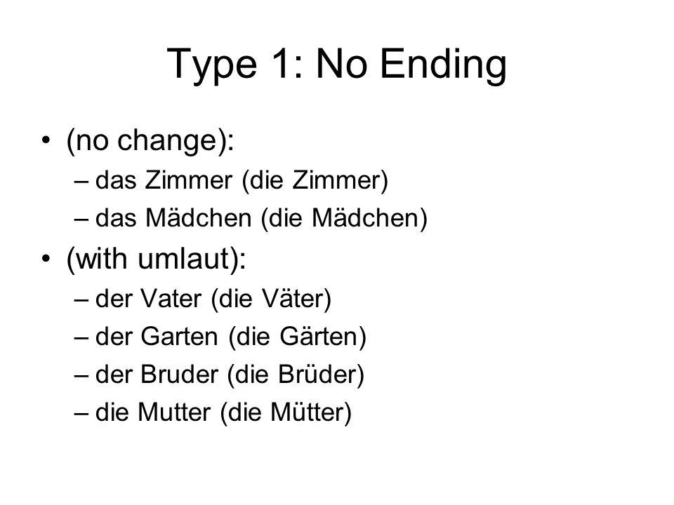Type 1: No Ending (no change): –das Zimmer (die Zimmer) –das Mädchen (die Mädchen) (with umlaut): –der Vater (die Väter) –der Garten (die Gärten) –der Bruder (die Brüder) –die Mutter (die Mütter)