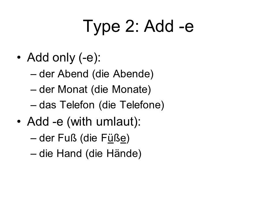 Type 2: Add -e Add only (-e): –der Abend (die Abende) –der Monat (die Monate) –das Telefon (die Telefone) Add -e (with umlaut): –der Fuß (die Füße) –die Hand (die Hände)