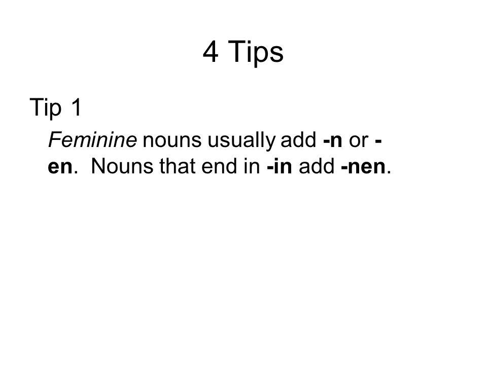4 Tips Tip 1 Feminine nouns usually add -n or - en. Nouns that end in -in add -nen.