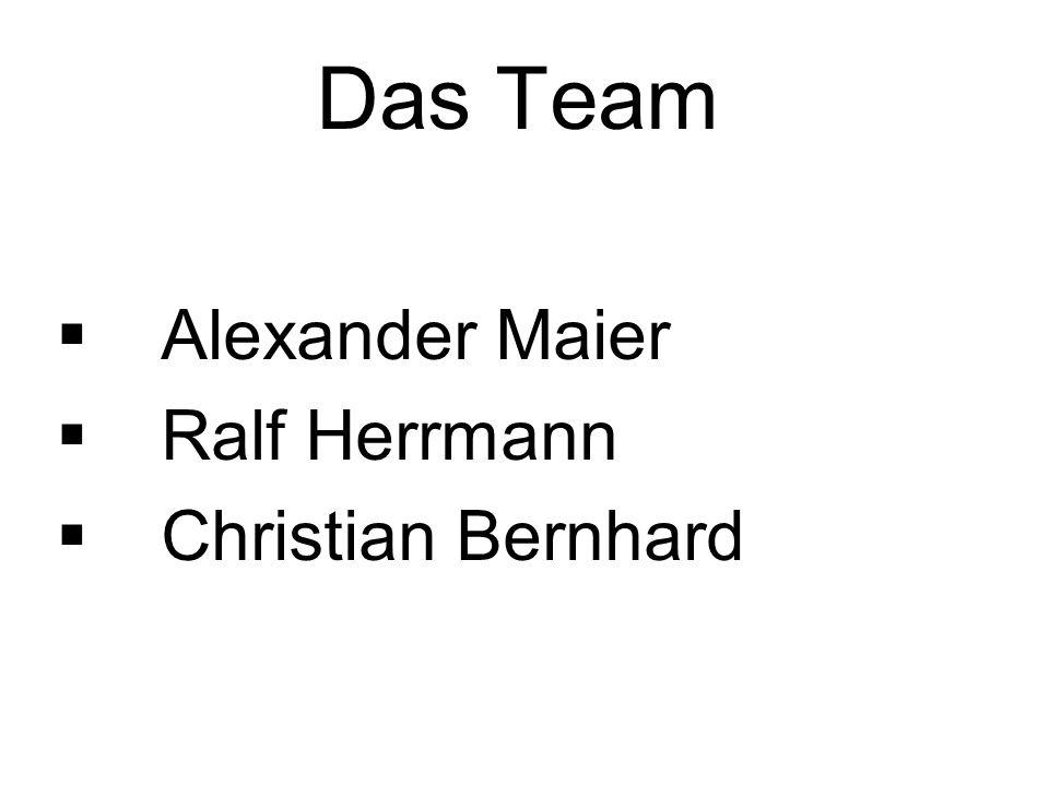 Das Team Alexander Maier Ralf Herrmann Christian Bernhard