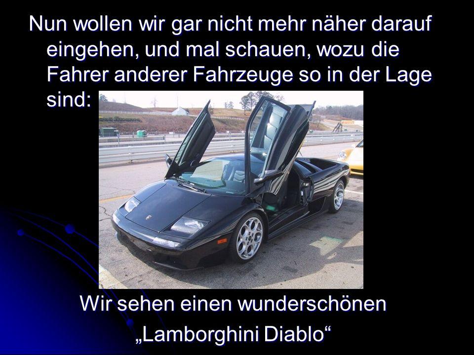 Nun wollen wir gar nicht mehr näher darauf eingehen, und mal schauen, wozu die Fahrer anderer Fahrzeuge so in der Lage sind: Wir sehen einen wunderschönen Lamborghini Diablo