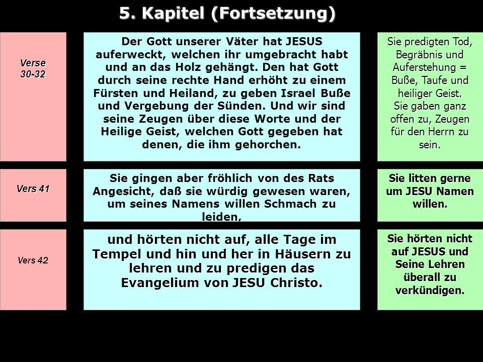 5. Kapitel (Fortsetzung) Verse 30-32 Der Gott unserer Väter hat JESUS auferweckt, welchen ihr umgebracht habt und an das Holz gehängt. Den hat Gott du