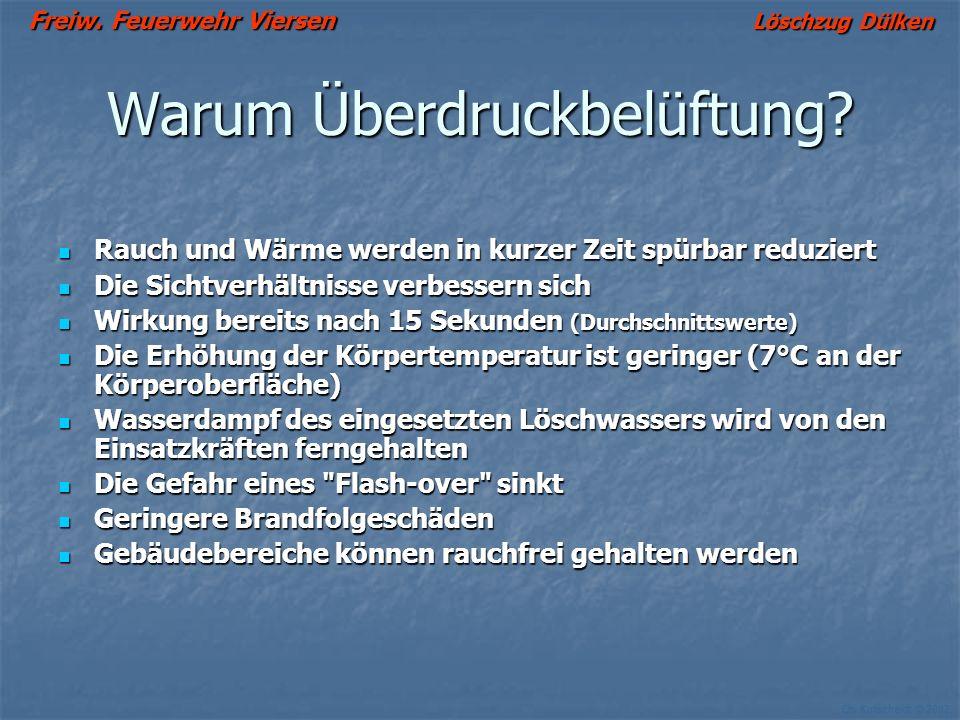 Freiw. Feuerwehr Viersen Löschzug Dülken Ch. Kutscheidt © 2002 Mechanische Belüftung Überdruckbelüftung + Überdruck + Vorteile: Effektiver als Unterdr