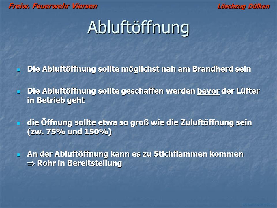 Freiw. Feuerwehr Viersen Löschzug Dülken Ch. Kutscheidt © 2002 Grundschritte der Überdruckbelüftung 1. Plazierung des Lüfters 2. Schaffung der Abluftö