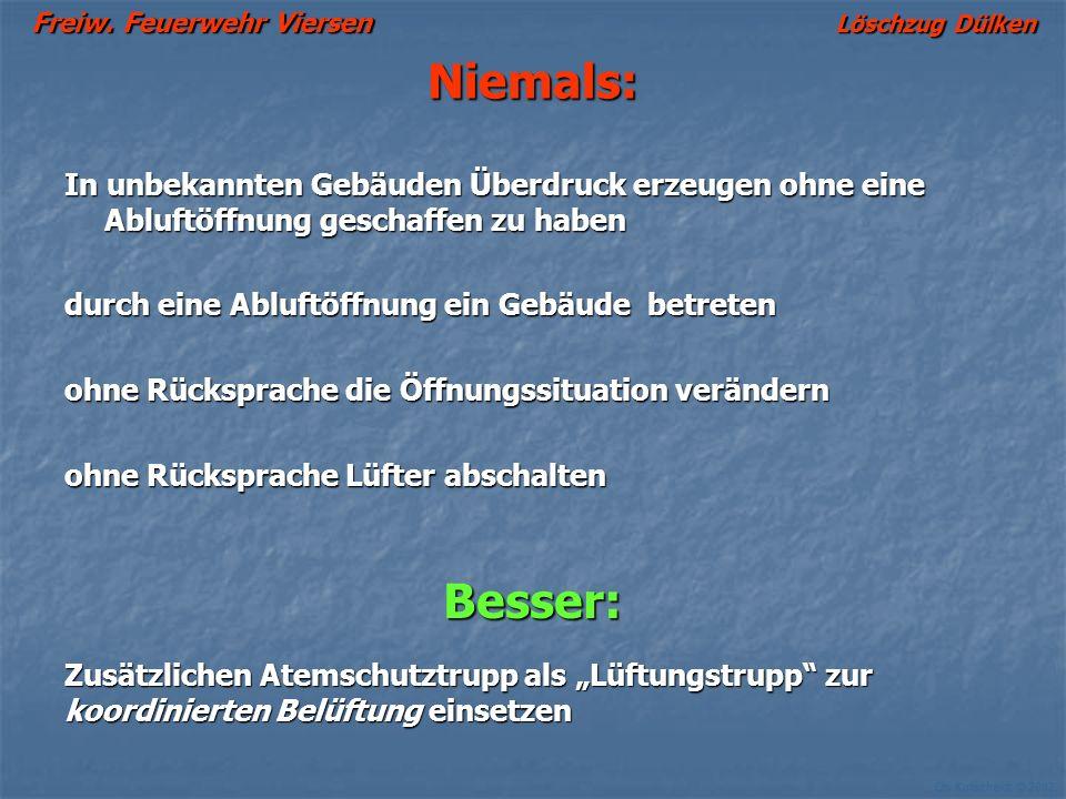 Freiw. Feuerwehr Viersen Löschzug Dülken Ch. Kutscheidt © 2002 Häufig gemachte Fehler: Es werden zu viele Abluftöffnungen geschaffen (z.B. alle Treppe