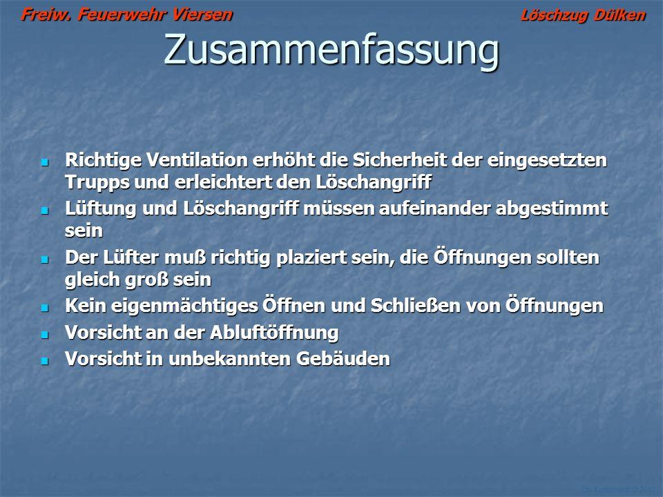Freiw. Feuerwehr Viersen Löschzug Dülken Ch. Kutscheidt © 2002 Lüftung unterbrechen??? Wozu? + + + + + + Poröse Oberfläche