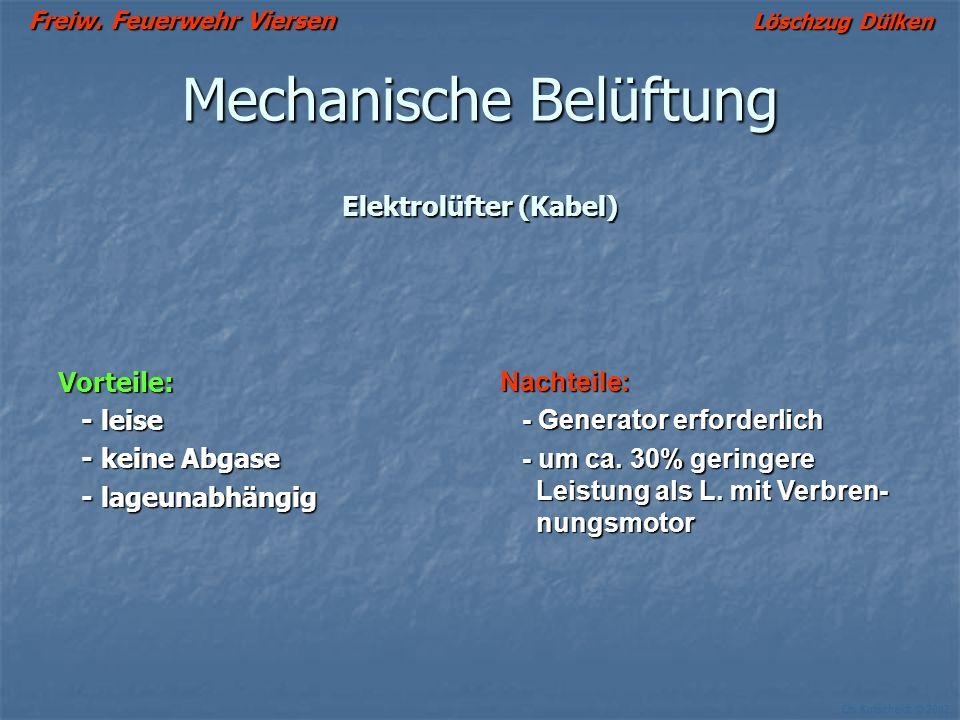 Freiw. Feuerwehr Viersen Löschzug Dülken Ch. Kutscheidt © 2002 Mechanische Belüftung Motorgetriebene Lüfter (Verbrennungsmotor) Vorteile - schnell und