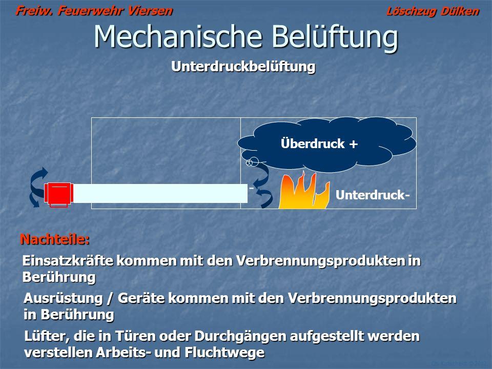 Freiw. Feuerwehr Viersen Löschzug Dülken Ch. Kutscheidt © 2002 Mechanische Belüftung Elektrolüfter (Akku) Vorteile: - leise - leise - keine Abgase - k