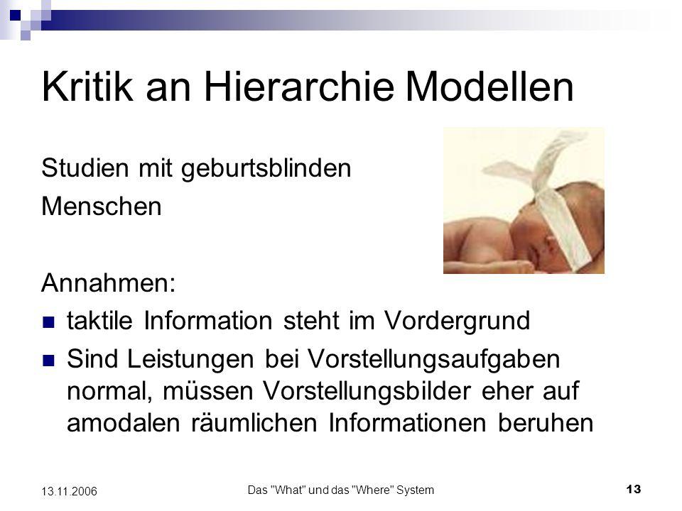 Das What und das Where System14 13.11.2006 Kritik an Hierarchie Modellen Ergebnis: mit sehenden Menschen vergleichbare Leistungen Fazit: Scheinbar müssen keine visuellen Informationen vorhanden sein um eine Vorstellung von einem Objekt zu generieren.