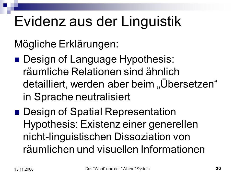 Das What und das Where System21 13.11.2006 Evidenz aus der Linguistik Kritik: Fehlen eindeutiger empirischer Evidenz (weder neuroanatomisch, noch behavioral)