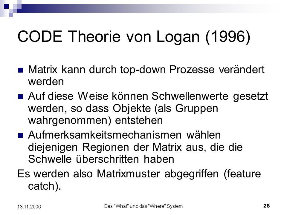 Das What und das Where System29 13.11.2006 CODE Theorie von Logan (1996) Theorie stimmt mit objektbasierten Aufmersamkeitsannahmen überein.