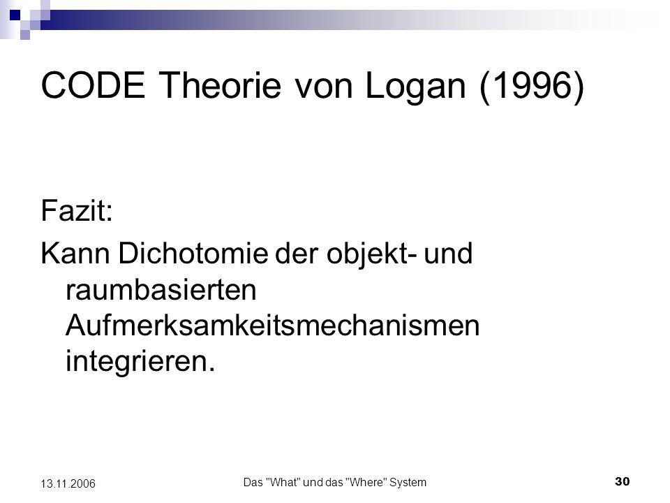Das What und das Where System31 13.11.2006 CODE Theorie von Logan (1996) Da sie von einer funktionellen Dichotomie im visuellen System ausgeht, stimmt sie auch mit neuroanatomischen Befunden im visuellen Cortex überein.