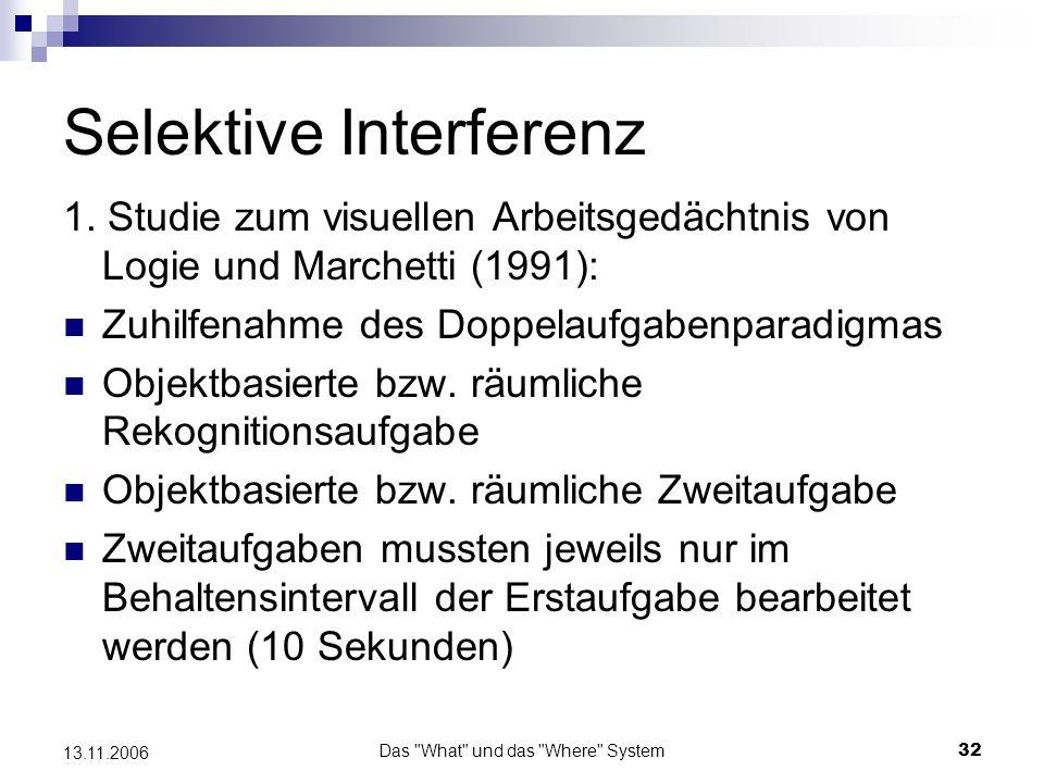 Das What und das Where System33 13.11.2006 Selektive Interferenz Erst- aufgabe Zweit- aufgabe
