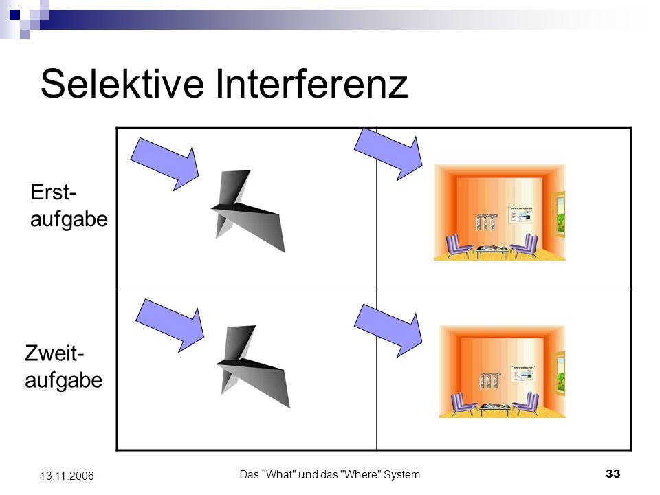 Das What und das Where System34 13.11.2006 Selektive Interferenz Ergebnis: Die objektbezogene Zweitaufgabe beeinträchtigte nur die Objektrekognitions- leistungen, nicht die Leistungen in der Raumaufgabe und umgekehrt.