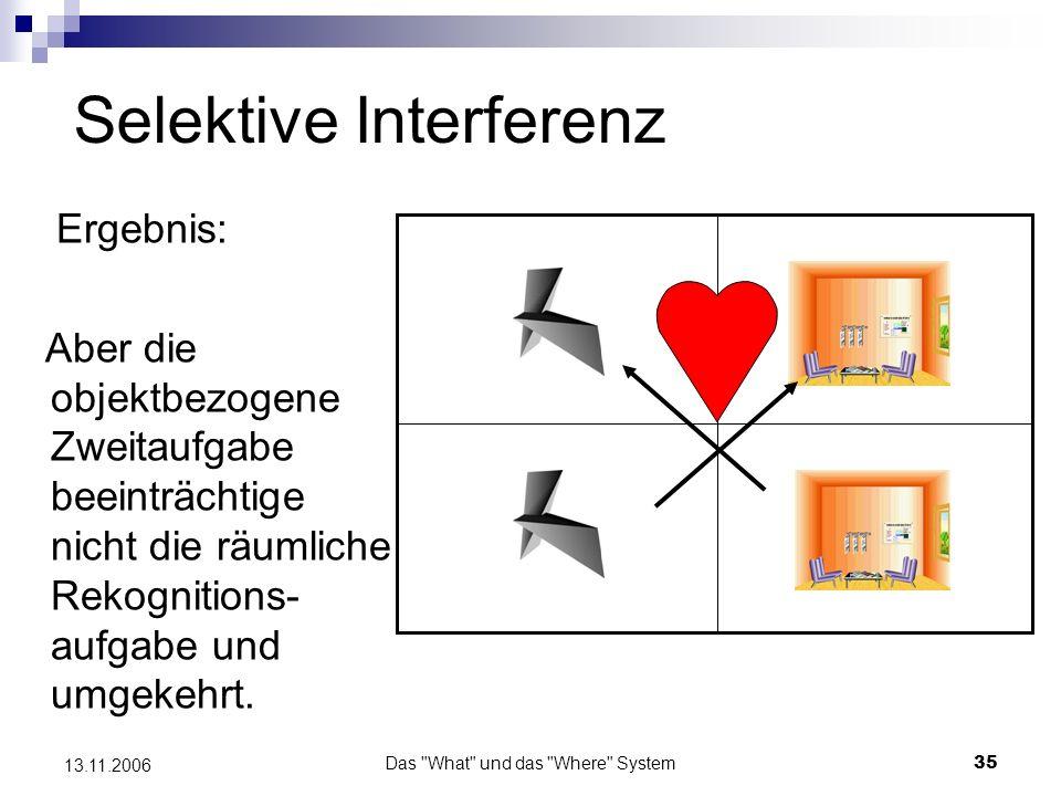 Das What und das Where System36 13.11.2006 Selektive Interferenz Da jeweils die einzelnen Aufgaben nur selektiv beeinträchtigt sind, kann man von einem räumlichen und einem objektbezogenem Rehearsalsystem ausgehen.