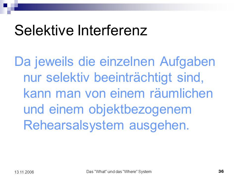 Das What und das Where System37 13.11.2006 Selektive Interferenz 2.