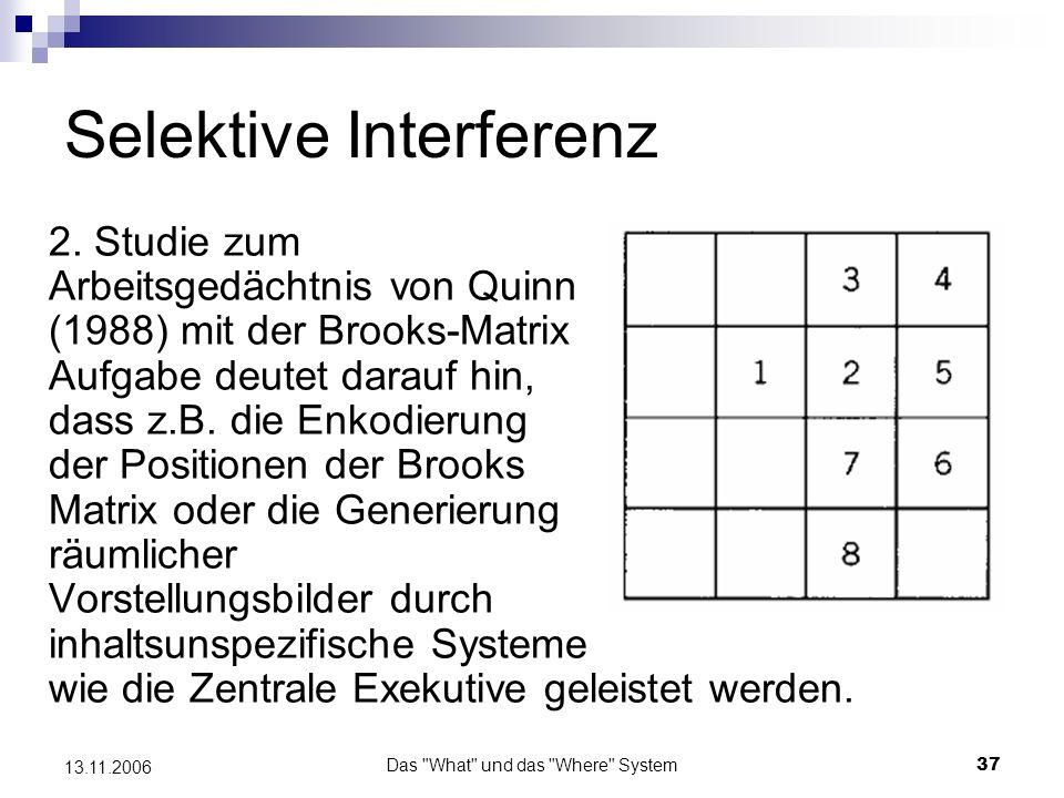 Das What und das Where System38 13.11.2006 Selektive Interferenz Replizierte Studie (Tresch, Sinnamon & Seamon, 1993) Memorieren eines geometrischen Musters Memorieren des Ortes eines Bildschirmpunktes Klassifikation eines Farbpunktes Detektion eines sich bewegen- den Bildpunktes 1.