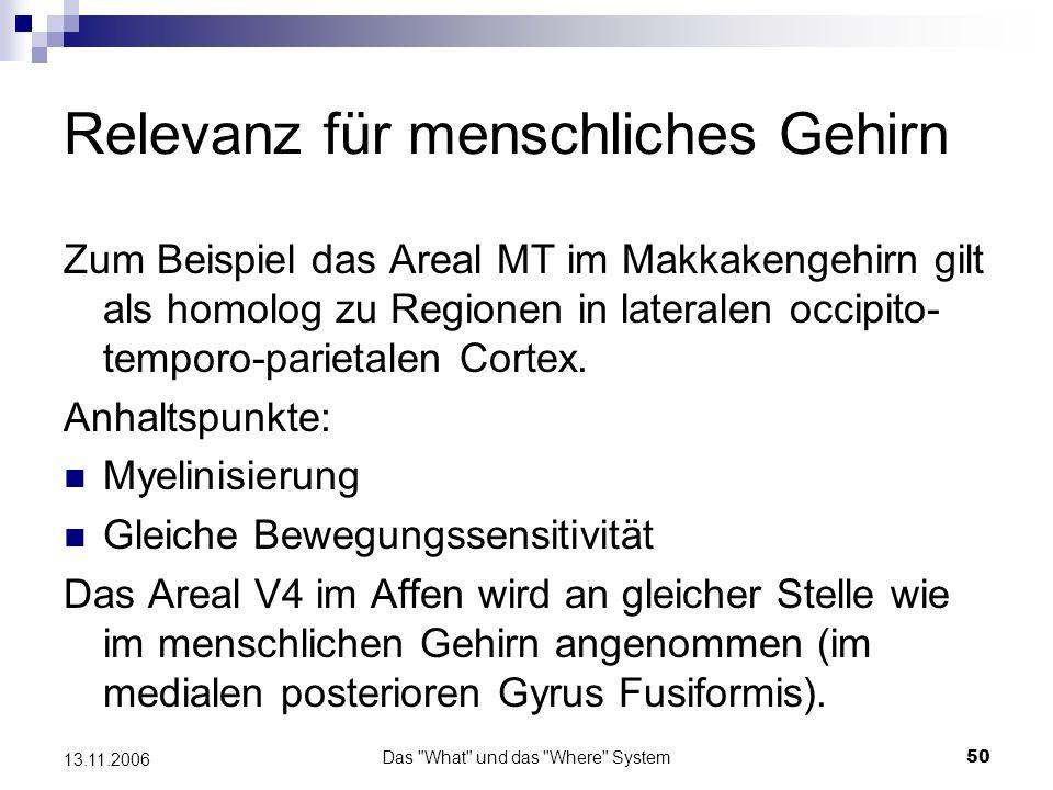 Das What und das Where System51 13.11.2006 Gedächtnisprozesse Untersuchung mit Hilfe zeitverzögerter Aufgaben (delayed response task) z.B.