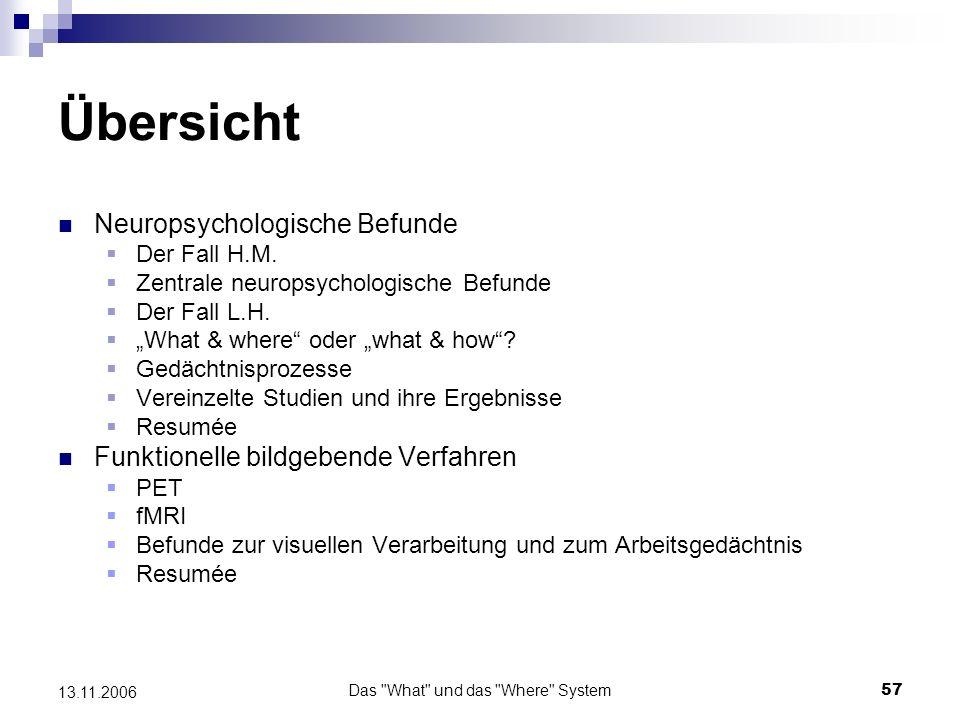 Das What und das Where System58 13.11.2006 Neuropsychologische Befunde Der Fall H.M.