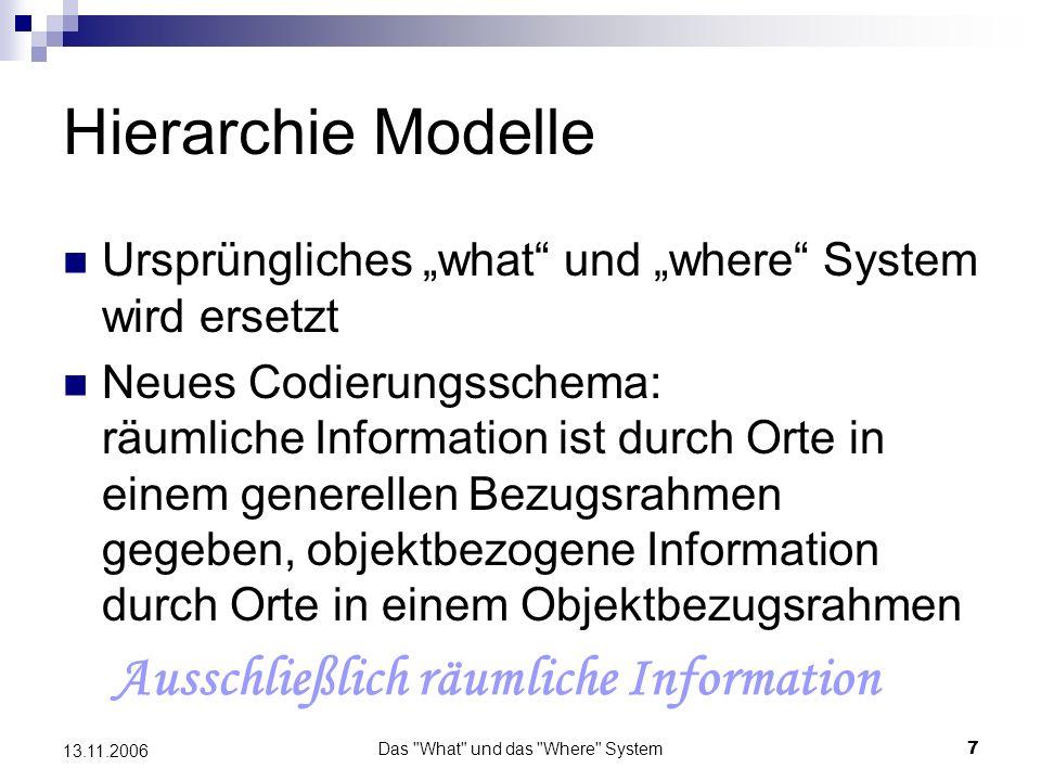 Das What und das Where System8 13.11.2006 Hierarchie Modelle …haben zumindest für Wahrnehmungsprozesse eine gewisse Plausibilität.