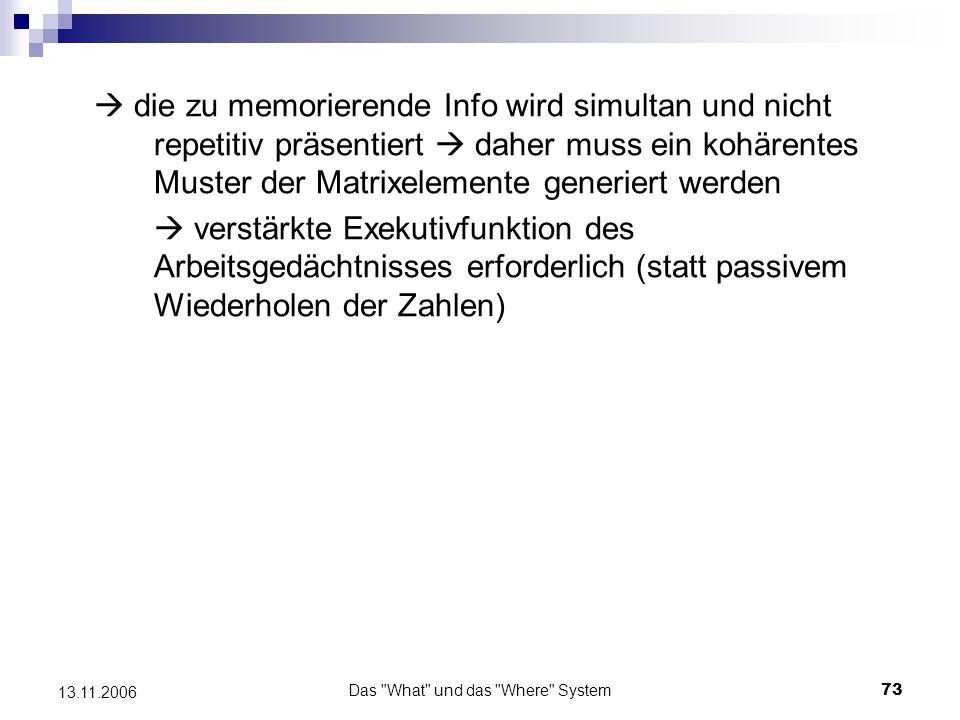 Das What und das Where System74 13.11.2006 Läsionen des rechten Temporallappens Beeinträchtigung beim Wiedererkennen objektbezogener Informationen, wie z.B.