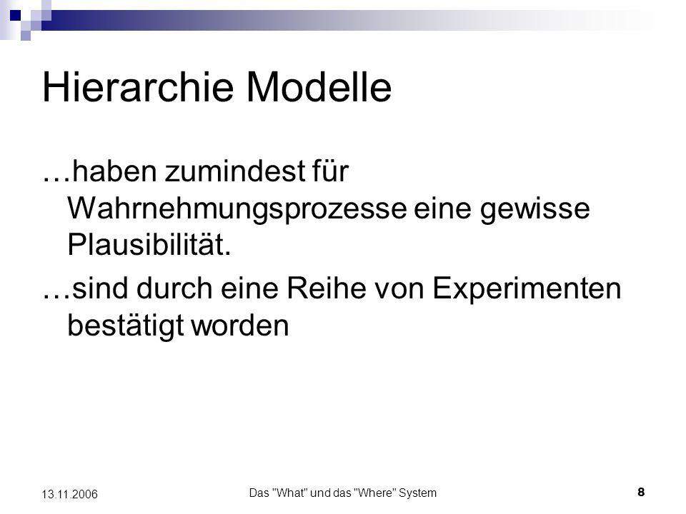 Das What und das Where System9 13.11.2006 Kritik an Hierarchie Modellen Objektbezogene Charakteristika (Form, Farbe oder Größe) sind deutlich stärker an die visuelle Modalität gebunden als räumliche.