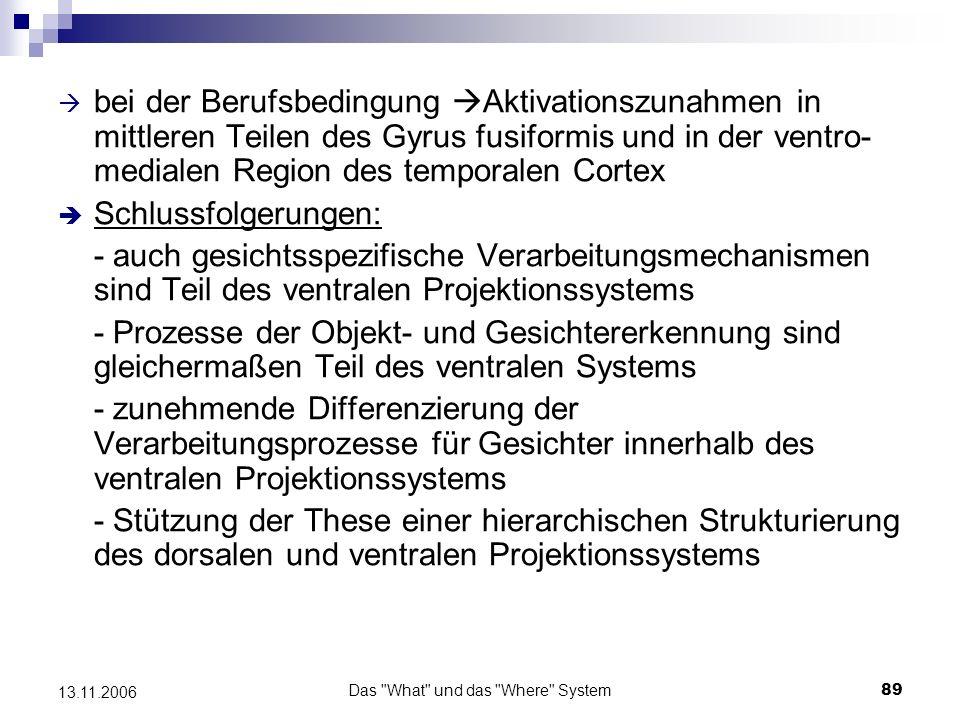 Das What und das Where System90 13.11.2006 Befunde zum Arbeitsgedächtnis Studien von Jonides et al.