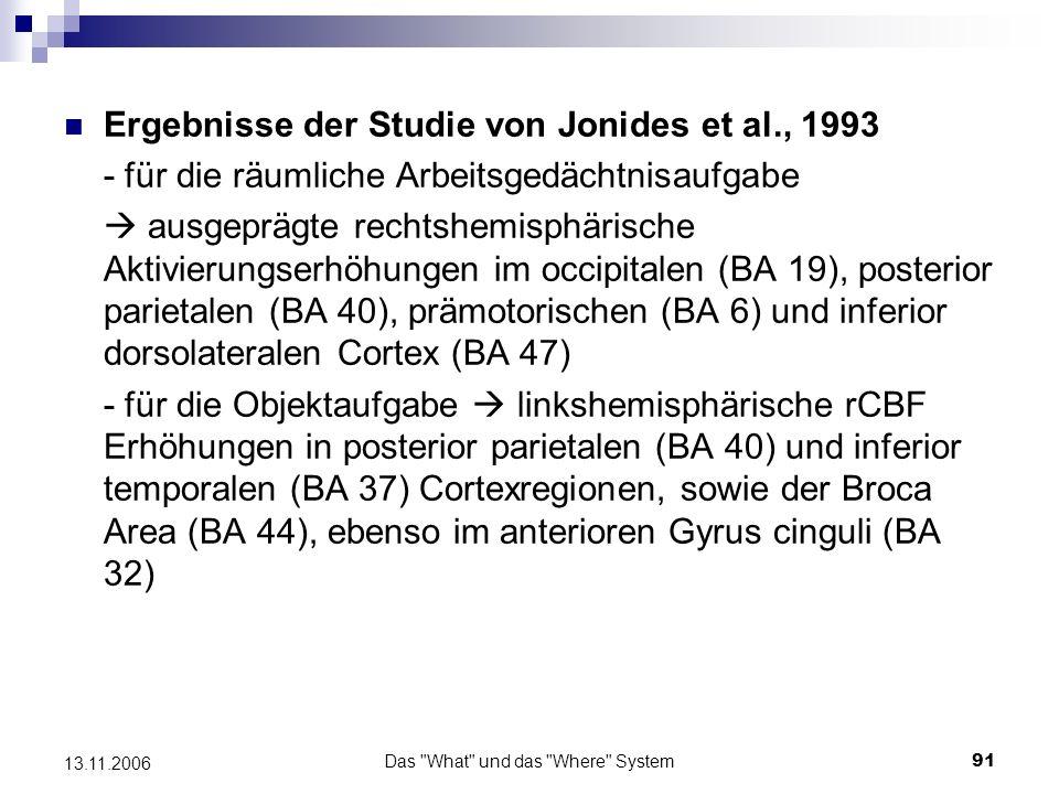 Das What und das Where System92 13.11.2006 Erhöhte Aktivität: -für die Raumaufgabe: rechtshemisph.
