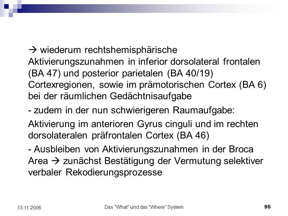Das What und das Where System96 13.11.2006 Erhöhte Aktivität: -für die Raumaufgabe: rechtshemisph.