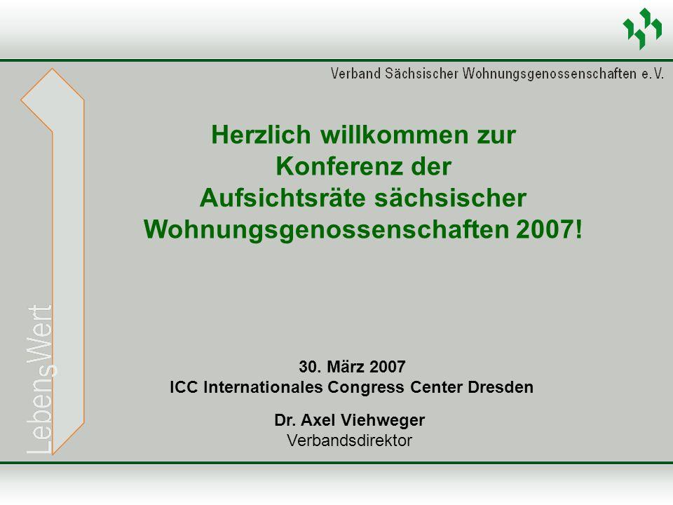 Dr. Axel Viehweger Verbandsdirektor Herzlich willkommen zur Konferenz der Aufsichtsräte sächsischer Wohnungsgenossenschaften 2007! 30. März 2007 ICC I