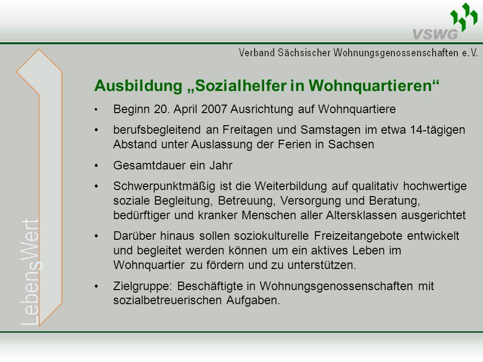 Ausbildung Sozialhelfer in Wohnquartieren Beginn 20.
