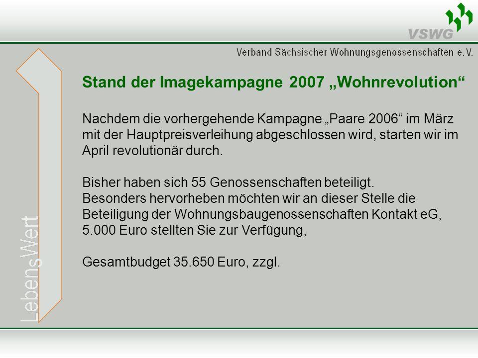Stand der Imagekampagne 2007 Wohnrevolution Nachdem die vorhergehende Kampagne Paare 2006 im März mit der Hauptpreisverleihung abgeschlossen wird, starten wir im April revolutionär durch.