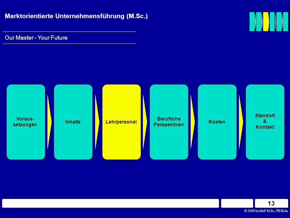 13 © 2008 by MuF M.Sc., FH Köln Our Master - Your Future Marktorientierte Unternehmensführung (M.Sc.) Berufliche Perspektiven InhalteLehrpersonal Vora