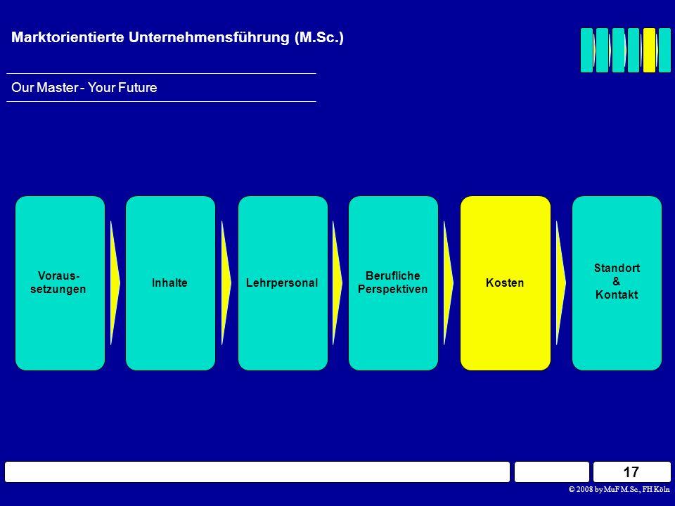 17 © 2008 by MuF M.Sc., FH Köln Our Master - Your Future Marktorientierte Unternehmensführung (M.Sc.) Berufliche Perspektiven InhalteLehrpersonal Vora
