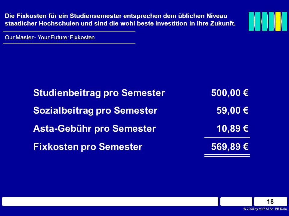 18 Our Master - Your Future: Fixkosten Die Fixkosten für ein Studiensemester entsprechen dem üblichen Niveau staatlicher Hochschulen und sind die wohl