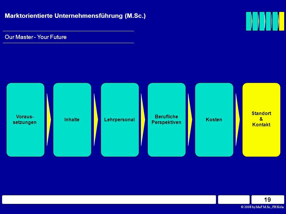 19 © 2008 by MuF M.Sc., FH Köln Our Master - Your Future Marktorientierte Unternehmensführung (M.Sc.) Berufliche Perspektiven InhalteLehrpersonal Vora