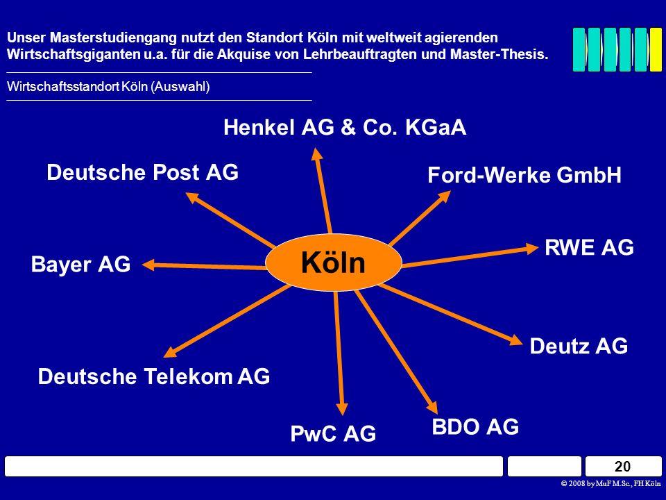 20 Wirtschaftsstandort Köln (Auswahl) Unser Masterstudiengang nutzt den Standort Köln mit weltweit agierenden Wirtschaftsgiganten u.a. für die Akquise