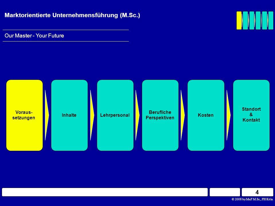 15 © 2008 by MuF M.Sc., FH Köln Our Master - Your Future Marktorientierte Unternehmensführung (M.Sc.) Berufliche Perspektiven InhalteLehrpersonal Voraus- setzungen Standort & Kontakt Kosten