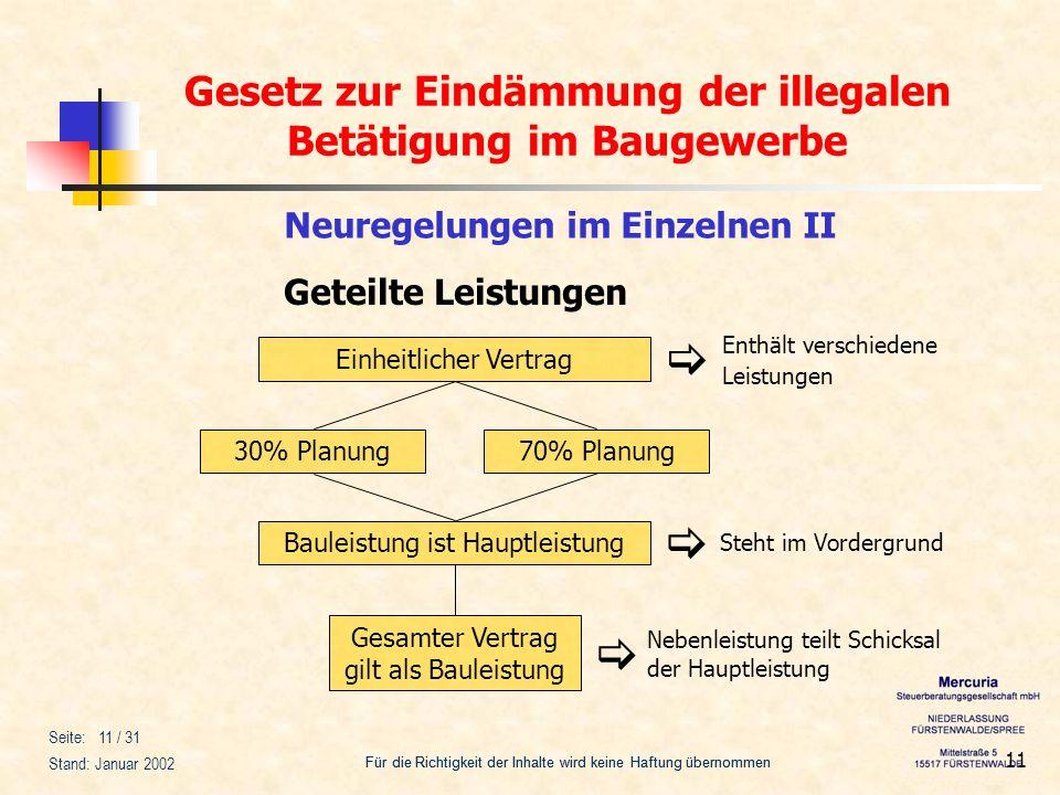 Gesetz zur Eindämmung der illegalen Betätigung im Baugewerbe Für die Richtigkeit der Inhalte wird keine Haftung übernommen Seite: 11 / 31 Stand: Janua