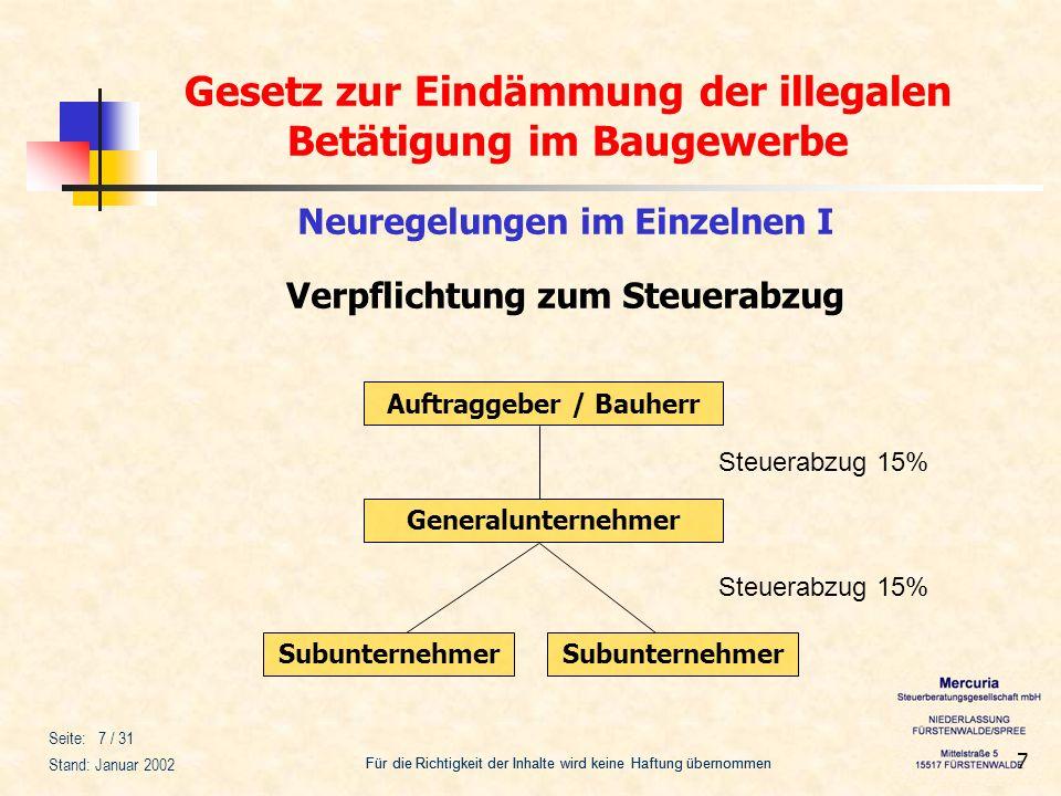 Gesetz zur Eindämmung der illegalen Betätigung im Baugewerbe Für die Richtigkeit der Inhalte wird keine Haftung übernommen Seite: 18 / 31 Stand: Januar 2002 18 2.