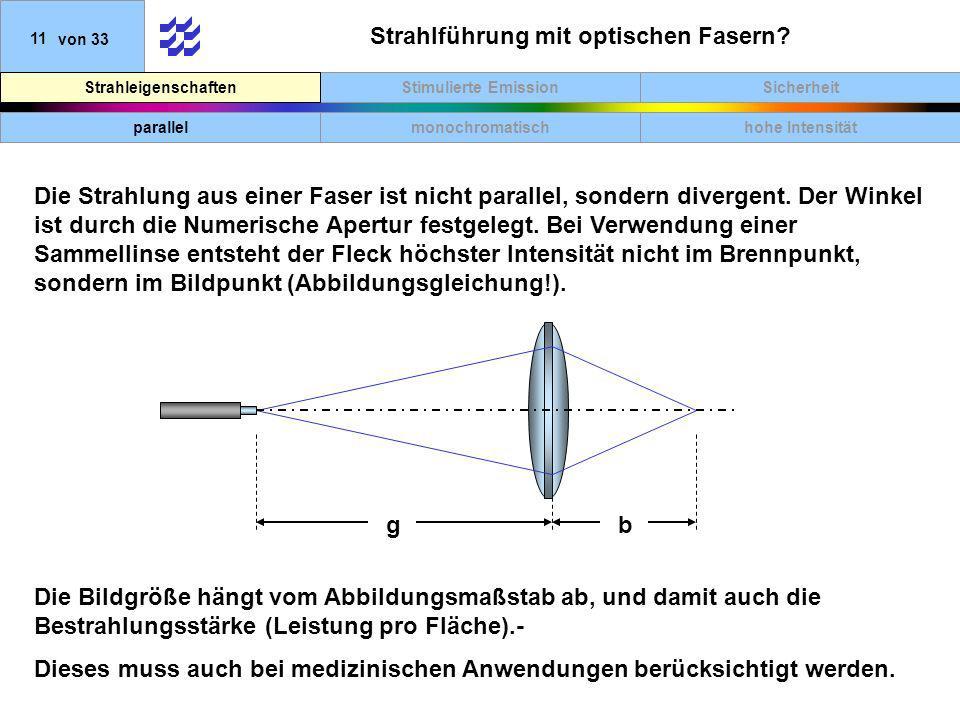 SicherheitStimulierte EmissionStrahleigenschaften 11von 33 Strahlführung mit optischen Fasern? Die Strahlung aus einer Faser ist nicht parallel, sonde