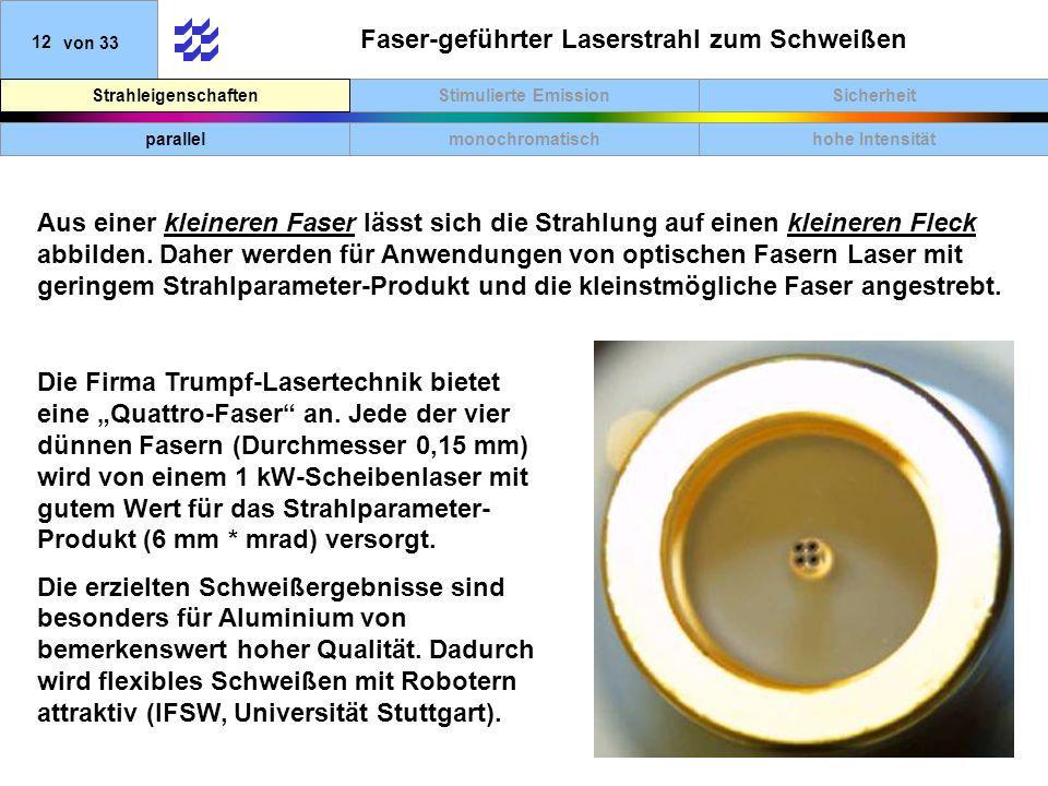 SicherheitStimulierte EmissionStrahleigenschaften 12von 33 Faser-geführter Laserstrahl zum Schweißen Aus einer kleineren Faser lässt sich die Strahlung auf einen kleineren Fleck abbilden.