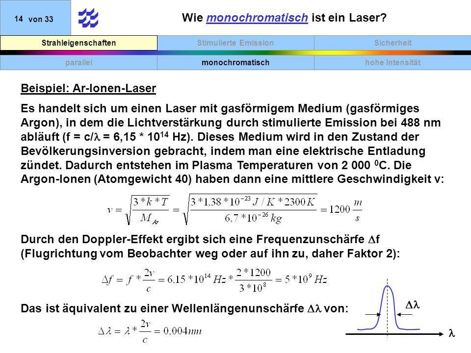 SicherheitStimulierte EmissionStrahleigenschaften 14von 33 Wie monochromatisch ist ein Laser? parallelmonochromatischhohe Intensität Beispiel: Ar-Ione