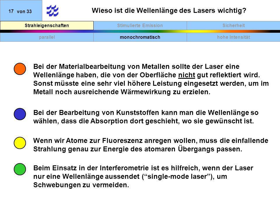 SicherheitStimulierte EmissionStrahleigenschaften 17von 33 Wieso ist die Wellenlänge des Lasers wichtig? parallelmonochromatischhohe Intensität Wenn w
