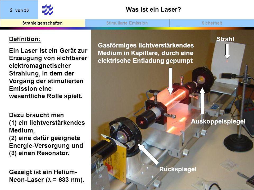 Stimulierte EmissionStrahleigenschaften 33von 33 VDE 0837 Teil 1 Klasse 3A: Die zugängliche Laserstrahlung ist für das Auge gefährlich, wenn der Strahlquerschnitt durch optische Instrumente verkleinert wird.
