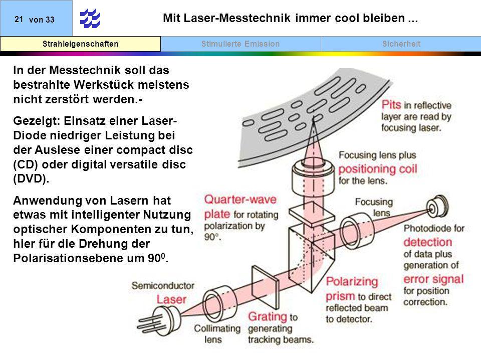 SicherheitStimulierte EmissionStrahleigenschaften 21von 33 Mit Laser-Messtechnik immer cool bleiben... In der Messtechnik soll das bestrahlte Werkstüc