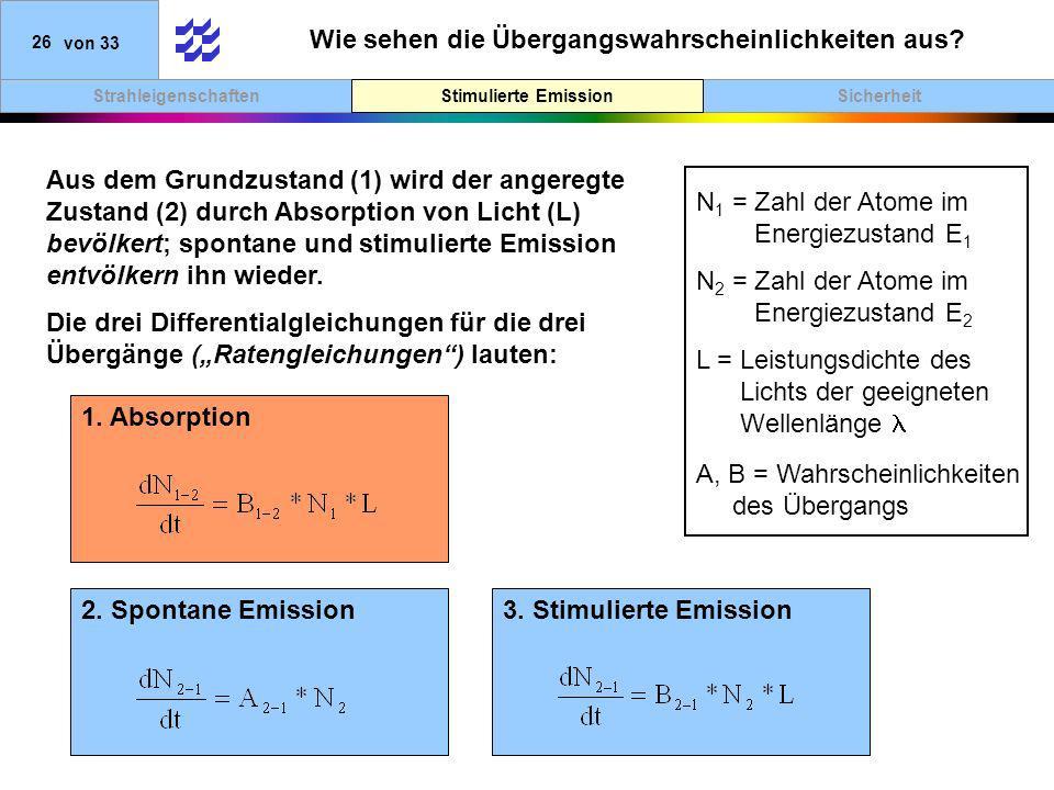 SicherheitStimulierte EmissionStrahleigenschaften 26von 33 Wie sehen die Übergangswahrscheinlichkeiten aus? Stimulierte Emission Aus dem Grundzustand