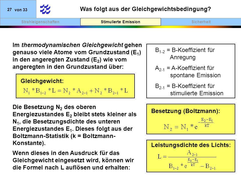 SicherheitStimulierte EmissionStrahleigenschaften 27von 33 Was folgt aus der Gleichgewichtsbedingung? Stimulierte Emission Im thermodynamischen Gleich