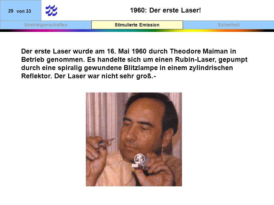SicherheitStimulierte EmissionStrahleigenschaften 29von 33 1960: Der erste Laser! Stimulierte Emission Der erste Laser wurde am 16. Mai 1960 durch The