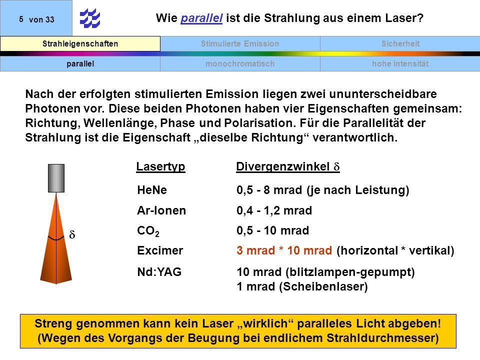 SicherheitStimulierte EmissionStrahleigenschaften 5von 33 Wie parallel ist die Strahlung aus einem Laser? Streng genommen kann kein Laser wirklich par